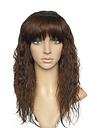 Kinky Curly Long Wig Brown Women Party Wig Hairstyle Synthetic Fiber Heat Resistant With Air Bangs For Women