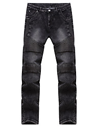 Men's Mid Rise Micro-elastic Jeans Pants,Simple Straight Solid