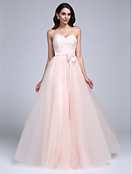 A-Line Sweetheart Floor Length Lace Tulle Prom Formal Evening Dress with Lace by TS Couture®