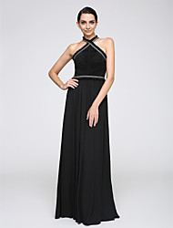 Sheath / Column Halter Floor Length Chiffon Formal Evening Dress with Pattern / Print Tassel(s) by TS Couture®