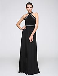 TS Couture Evento Formal Vestido - Elegante Funda / Columna Halter Hasta el Suelo Raso con Diseño / Estampado Borla(s)