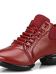 Women's Dance Shoes Sneakers Breathable Leather Low Heel Black/Red