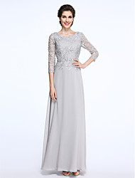 LAN TING BRIDE Sheath / Column Mother of the Bride Dress - Elegant Ankle-length 3/4 Length Sleeve Chiffon Lace with Lace