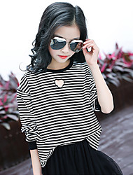 Girl's Fashion Going out Casual/Daily Holiday Stripes Tee Spring/Fall Children Cotton Long Sleeve Heart-shaped Shirt Blouse