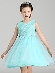 Ball Gown Knee-length Flower Girl Dress - Cotton Chiffon Lace Satin Tulle Jewel with Appliques Lace