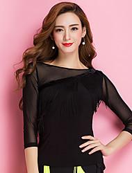 Ballroom Dance Tops Women's Training Viscose Tassel(s) 1 Piece 3/4 Length Sleeve Natural Top