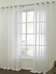 Two Panels Curtain Modern , Solid Bedroom Linen/Polyester Blend Material Sheer Curtains Shades Home Decoration For Window