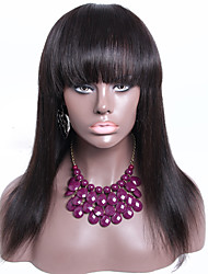 150% Density Lace Front Wig With Bangs Silky Straight Brazilian Hair Wigs 16Inch Natural Color Accept Custom