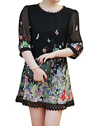 Women Chiffon Mini Dress Floral Print Lace Trim O Neck 3/4 Sleeve Party Club Dress