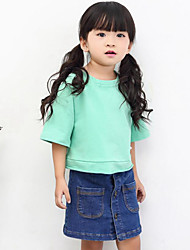 Girl Casual/Daily Holiday School Solid Tee,Cotton Spring ½ Length Sleeve