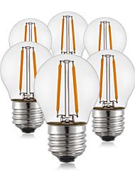 6 pcs- 2w e26 / e27 ampoules à fil filé g45 2 cob 190l m chaud blanc décoratif 220v-240v