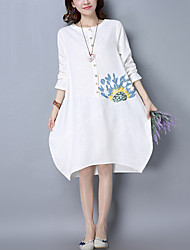 Women's Casual/Daily Street chic Chinoiserie Loose Dress Print Round Neck Asymmetrical Long Sleeve Cotton /Linen Red /White Spring /Fall