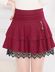 Women's A Line Solid Skirts,Going out / Party/Cocktail Mid Rise Mini Button Cotton / Polyester Micro-elastic All Seasons