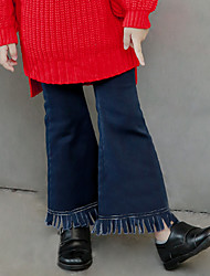 Girl's Fashion Solid Color Going out Casual/Daily Holiday Spring/Fall Cotton Children Tights Elasticity Pants Tassels Bell-bottoms Jeans