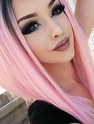Two Tone Ombre T1B/Pink Color Synthetic Short Bob Lace Front Wigs Straight Hair Heat Resistant Synthetic Fiber Hair Bob Wigs