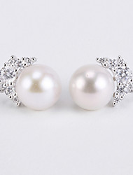 Imitation Pearl Stud Earrings Jewelry Women Daily Casual Sterling Silver Imitation Pearl 1 pair Silver