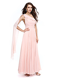 TS Couture Prom / Formal Evening Dress - Celebrity Style A-line One Shoulder Watteau Train Chiffon with Ribbon Side Draping Ruching