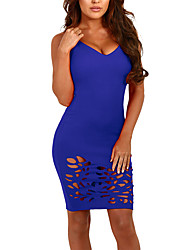 Women's Going out Club Sexy Simple Bodycon DressSolid Backless Cut Out Over Hip Strap Above Knee Sleeveless Summer Mid Rise