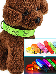 Cat Dog Collar Reflective LED Lights Adjustable/Retractable Strobe/Flashing Safety Cartoon Red Green Blue Pink Yellow OrangeFabric Nylon