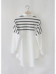 корея покупке поддельные две женщины черно-белую полоску рубашку и длинные участки шить свободный с длинными рукавами, белую рубашку