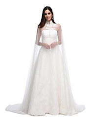 Women's Wrap Capes Lace Tulle Wedding Party/Evening Button Lace