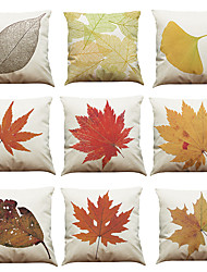 Set of 9 Maple Leaf pattern Linen Pillowcase Sofa Home Decor Cushion Cover