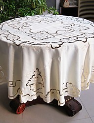 175cm Round Tablecloth Cutworking Embroidered Tablecloth 68 Inches Round Table Cover