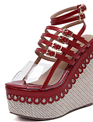 Damen-Sandalen-Kleid-Lackleder-KeilabsatzSchwarz Rot