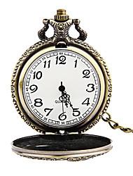Relógio de Bolso Quartzo Gravação Oca Lega Banda Vintage Bronze Bronze