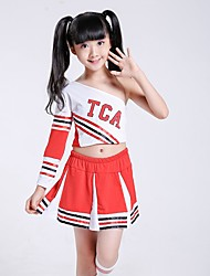 Cheerleader Costumes Outfits Children's Performance Spandex Draped 2 Pieces Long Sleeve Natural Top Skirt