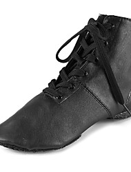 Customizable Unisex Shoes Dance Shoes Leather Leather Jazz Boots Split Sole Sneakers Chunky Heel Professional Black