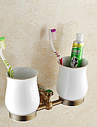 Bathroom Accessories Antique Brass with Jade Material Toothbrush Holder