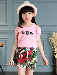 Girls' Casual/Daily Beach Holiday Solid Floral Sets,Cotton Polyester Summer Short Sleeve Clothing Set