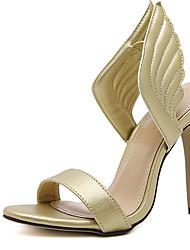 Damen-High Heels-Kleid-PU-Stöckelabsatz-Club-Schuhe-Gold Silber