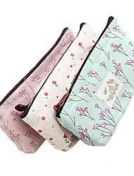 1 Pcs Hot Sale New Flower Floral Pencil Pen Canvas Case Cosmetic Makeup Tool Bag Storage Pouch Purse Color Random