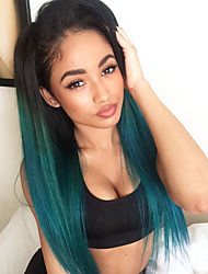 Mujer Pelucas sintéticas Encaje Frontal Liso Verde Entradas Naturales Pelo Ombre Raíces oscuras Raya en medio Peluca natural Peluca de