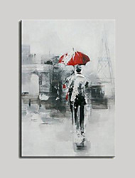 Hand Painted Oil Paintings Modern Abstract Figure with Red Umbrella for Wall Decoration Unformed Figure Painting on Canvas Ready Made Frame