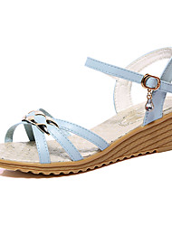 Women's Sandals Spring Summer Fall Gladiator Leatherette Outdoor Dress Casual Wedge Heel Platform Rivet Buckle Braided Strap Blue Beige