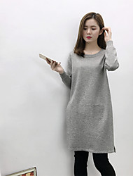 Sign new winter round neck knit sweater and long sections bottoming shirt Slim was thin slit dress tide
