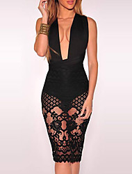 Women's Cut Out|Lace|Backless Party Club Sexy Simple Bodycon DressPatchwork Lace Backless Criss-Cross Fashion Multi-way Deep V Knee-length Sleeveless