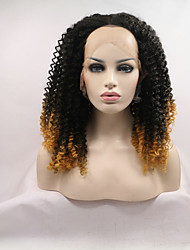 Sylvia Synthetic Lace Front Wig Black To Yellow Kinky Curly Heat Resistant Ombre Synthetic Wigs