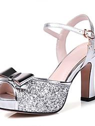 Damen-Sandalen-Hochzeit Party & Festivität Kleid-Kunststoff Leder-Blockabsatz-Club-Schuhe-Lila Silber Gold