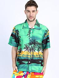 Hombre Simple Boho Casual/Diario Playa Festivos Verano Camisa,Cuello Camisero Estampado Manga Corta Algodón Rayón Fino