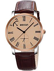 Men's Fashion Watch Wrist watch Quartz Genuine Leather Band Black Brown