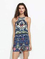 Women's Floral Blue Jumpsuits , Holiday / Beach Halter Sleeveless