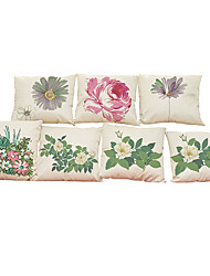Set of 7 Pastoral style pattern  Linen  Cushion Cover Home Office Sofa Square  Pillow Case Decorative Cushion Covers Pillowcases