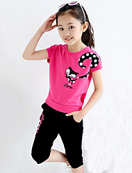 Going out Casual/Daily Sports Print Sets,Cotton Summer Short Sleeve Clothing Set