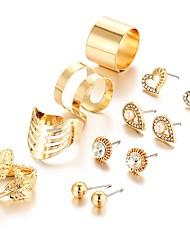 4pcs/set Europe Feather Crystal Stud Earrings Flower Shell Oval Square Shining Earrings