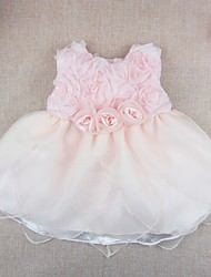 Baby Kleid-Party/Cocktail einfarbig Blumen Polyester Sommer Rosa