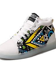 Homme Baskets Confort Chaussures Lumineuses Polyuréthane Printemps Eté Décontracté Confort Chaussures Lumineuses Lacet LED Talon Plat
